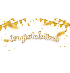 Congratulations gold celebration background with vector