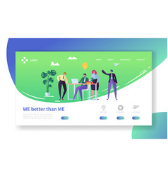 Creative idea office character landing page vector