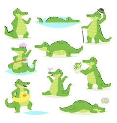 crocodile crocodilian character green vector image