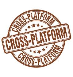 Cross-platform brown grunge stamp vector