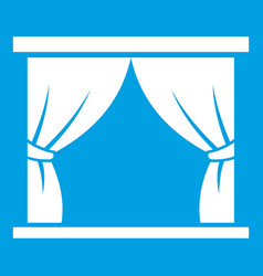 curtain on stage icon white vector image