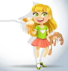 Cute little girl hold toy bunny and ice cream vector image