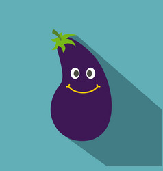 cute smiling eggplant icon flat style vector image