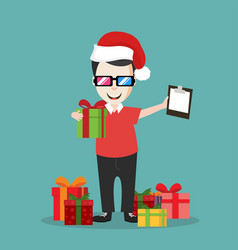 Deliveryman with gift boxes vector