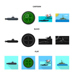 Design of war and ship symbol collection vector
