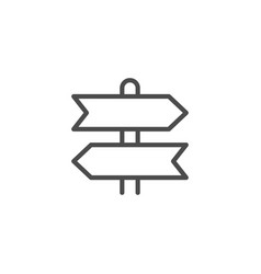 Directional sign line outline icon vector