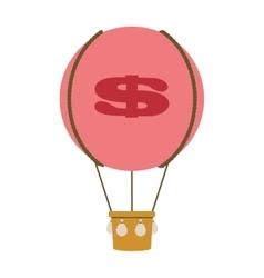 Dollar sign hot air balloon icon vector