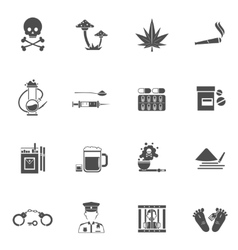 Drugs black white icons set vector