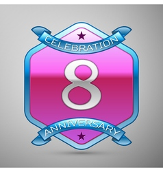 Eight years anniversary celebration silver logo vector