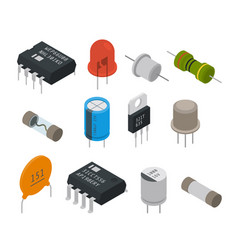 Electronic components icons isometric vector