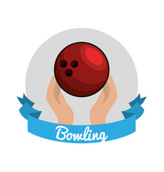 Emblem bowling game icon vector