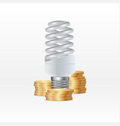Energy saving lamp and money isolated on white vector
