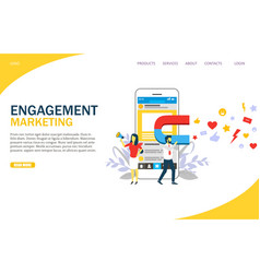 engagement marketing website landing page vector image