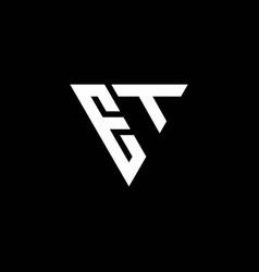 et logo letter monogram with triangle shape vector image