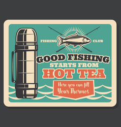 Fishing club retro card with badge of fish and rod vector