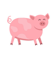 Funny pig flat isolated on vector