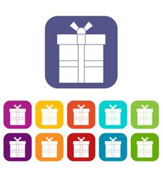gift box with ribbon icons set flat vector image