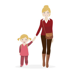 Girl with her mother walking to school vector