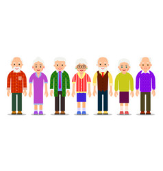 Group older people aged caucasian people elderly vector
