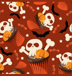 Halloween sweets seamless pattern vector