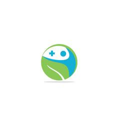 happy man medic cross logo vector image
