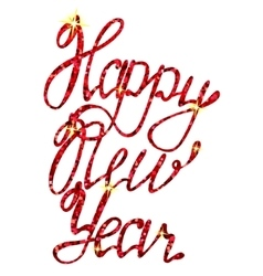 Happy New Year lettering tinsels vector