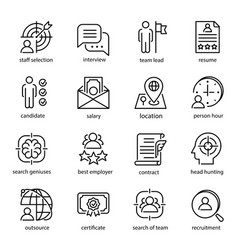 head hunting icon set employment and recruitment vector image