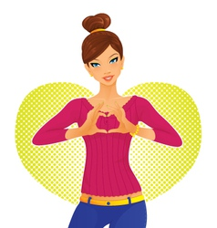 heart girl vector image