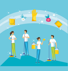 Housekeeping people working with tools and icons vector