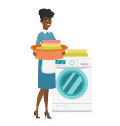 housewife using washing machine at laundry vector image