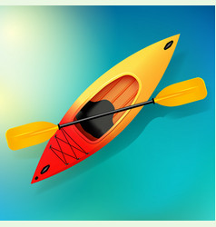 Kayak and paddle on water of vector