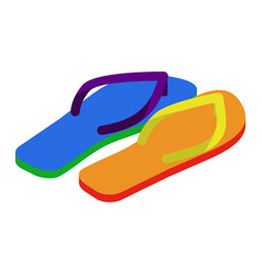 Lgbt slippers beach shoes colors of rainbow flag vector