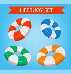 Lifebuoy set isolated isometric lifebuoy vector
