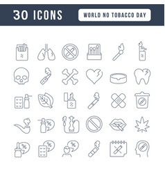 Line icons world no tobacco day vector