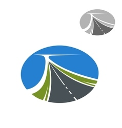 Long highway and blue sky icon vector