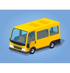 Low poly yellow passenger van vector image