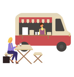 Marketplace fast food trolley and cafe takeaway vector