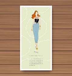 May Hand drawn fashion models calendar 2016 vector image