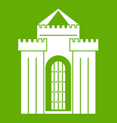 medieval palace icon green vector image