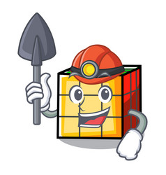 Miner rubik cube mascot cartoon vector