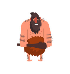 Muscular primitive caveman with club stone age vector