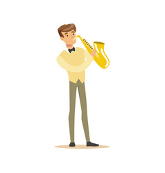 Musician playing a saxophone vector
