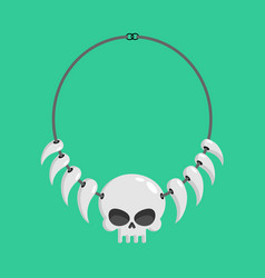 Necklace skulls and tusks ethnic decoration vector
