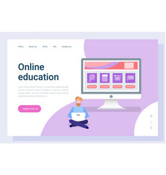online education reading or studying pc vector image
