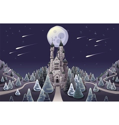 Panorama with medieval castle in night vector