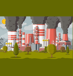 plant smoking pipes smog in city vector image