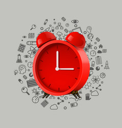 realistic red alarm clock clean vector image