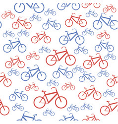 red blue bicycle silhouette seamless pattern vector image