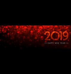 Red bokeh 2019 happy new year banner vector