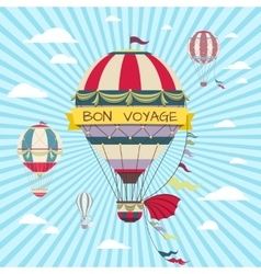 Retro card with hot air balloon vintage bon vector
